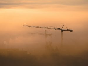 Two cranes in the fog at sunset