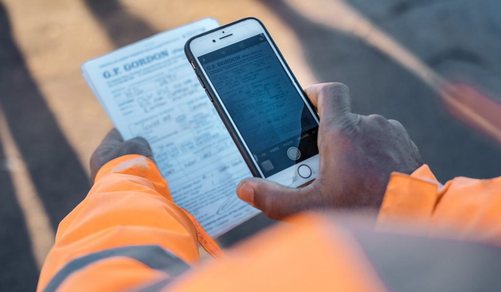 Qflow app being used on HS2 construction site