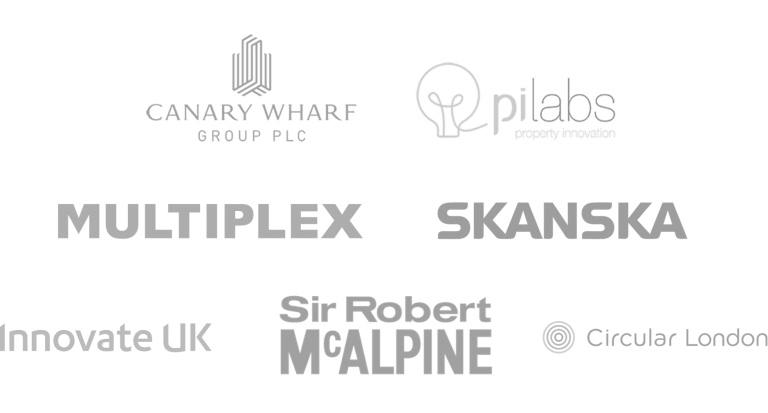 Logos of PiLabs, Canary Wharf Group, Multiplex, Skanska, and SRM