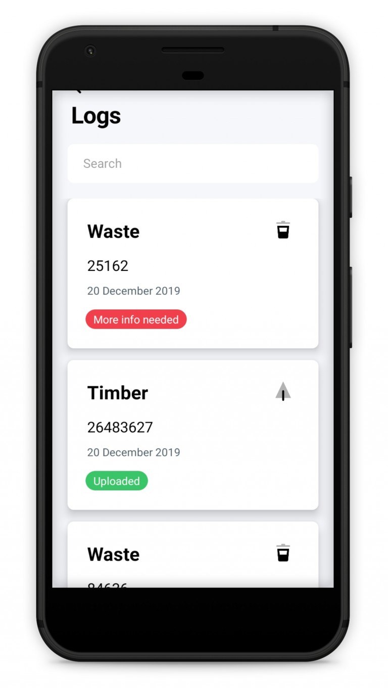 Qflow smartphone app waste and material records screen