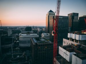 London construction skyline at sunset