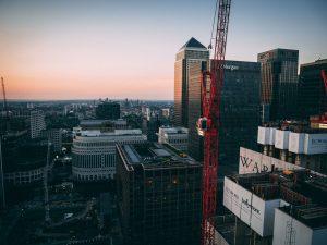 London construction skyline at sunset