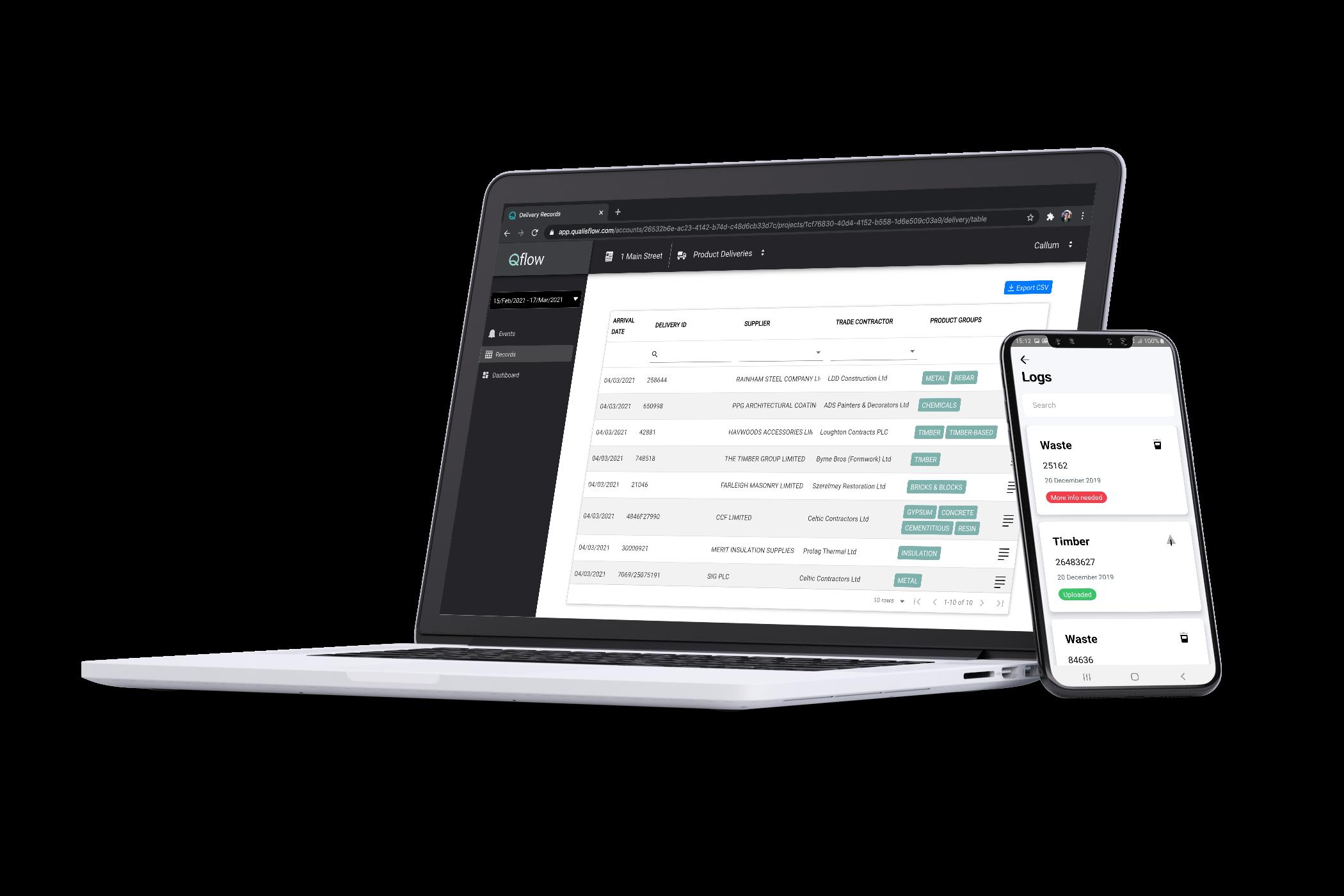 Qflow laptop portal and Qflow iOS app