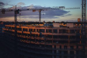 Construction site at dusk Qflow IoT